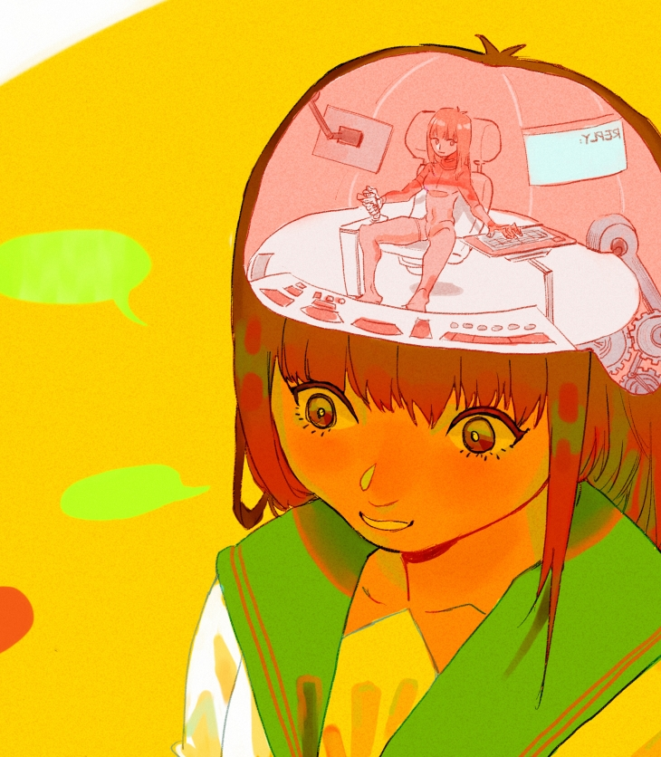 Image of an anime girl with a woman sitting in a control room in her head